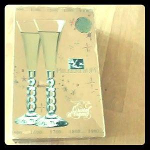 Millennium Lead Crystal Yr 2000 Champagne Glasses